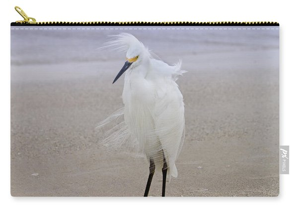 Snowy Egret At The Beach Carry-all Pouch