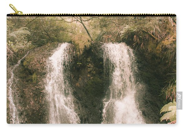 Soft Vintage Forest Waterfall In Tasmania Carry-all Pouch