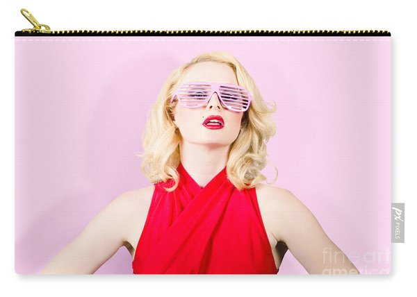 Summer Fashion Model. Girl In A Pink Sun Glasses Carry-all Pouch