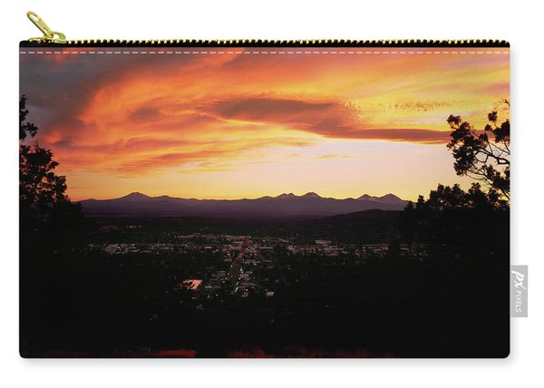 Sunset Over The Cascade Range And City Carry-all Pouch