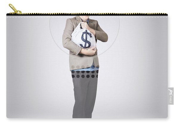 Surprised Business Man Holding Money Bag In Bank Carry-all Pouch
