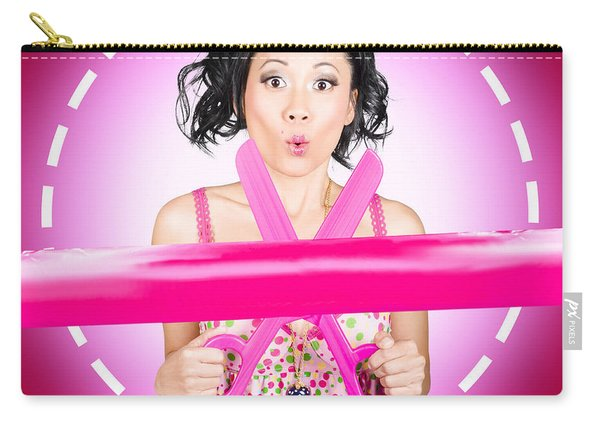 Surprised Hairdressing Woman With Beautiful Hair Carry-all Pouch