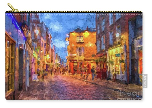 Temple Bar District In Dublin At Night Carry-all Pouch