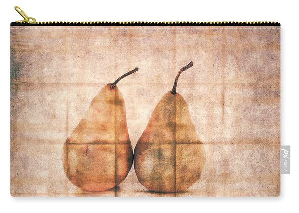 Two Yellow Pears On Folded Linen Carry-all Pouch