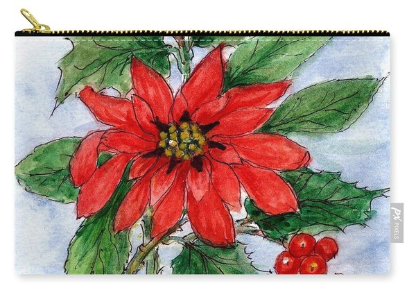 Poinsettia And Holly  Carry-all Pouch
