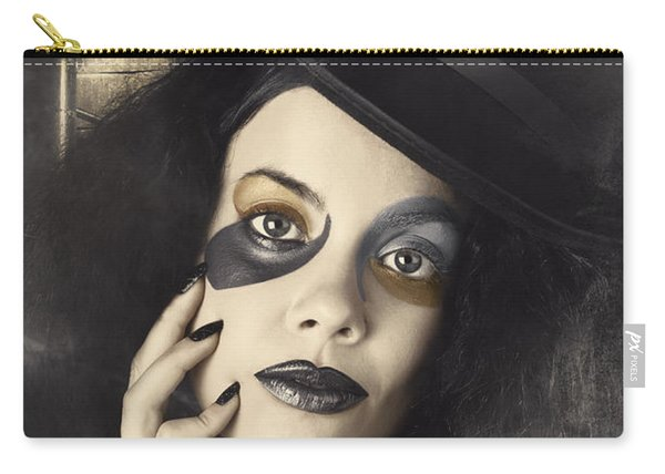 Vintage Fashion Girl In Creative Makeup And Tophat Carry-all Pouch