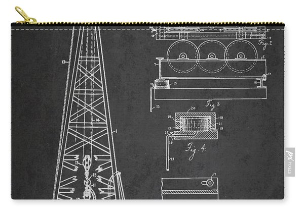 Vintage Oil Drilling Rig Patent From 1916 Carry-all Pouch