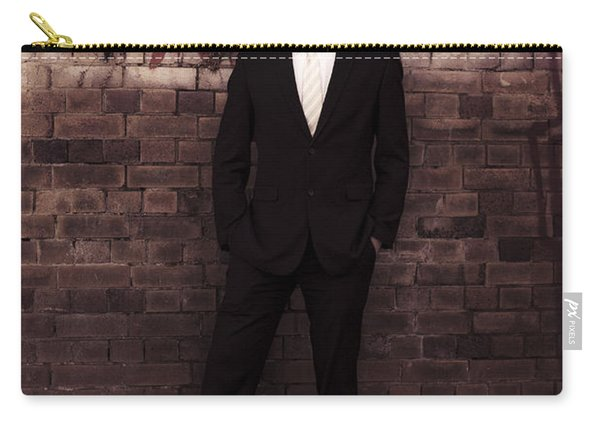 Vintage Salesman Standing In Front Of Brick Wall Carry-all Pouch