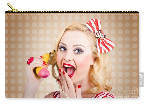 Woman On Banana Telephone. Health Eating News Carry-all Pouch