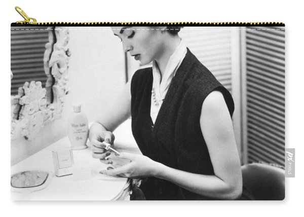 Woman Taking Care Of Her Nails Carry-all Pouch