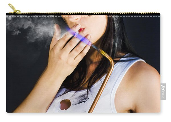 Woman Welding Smoking Cigarette Carry-all Pouch