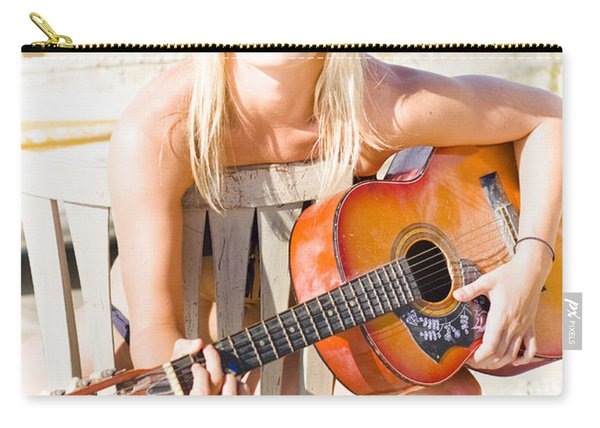 Woman With Guitar Carry-all Pouch