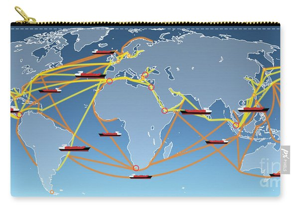 World Shipping Routes Map Carry-all Pouch