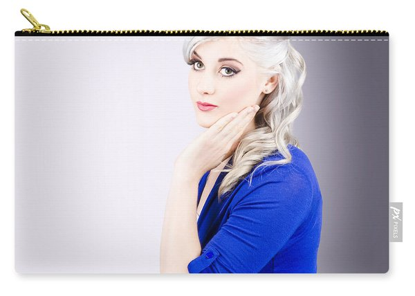 Young Blond Girl With Perfect Clean Skin Carry-all Pouch