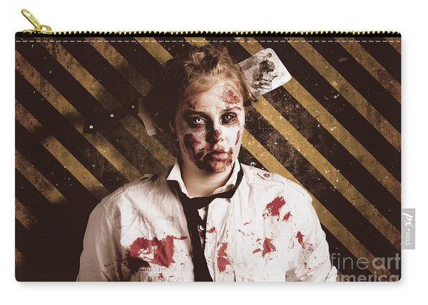 Zombie Standing On Outbreak Warning Background Carry-all Pouch