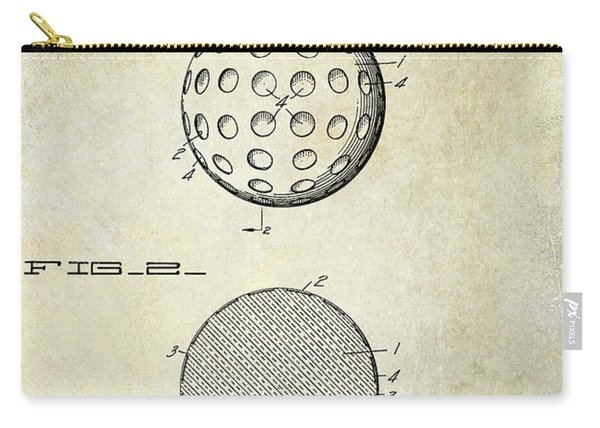 1931 Golf Ball Patent Drawing Carry-all Pouch
