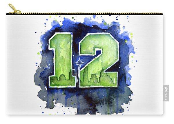 12th Man Seahawks Art Seattle Go Hawks Carry-all Pouch