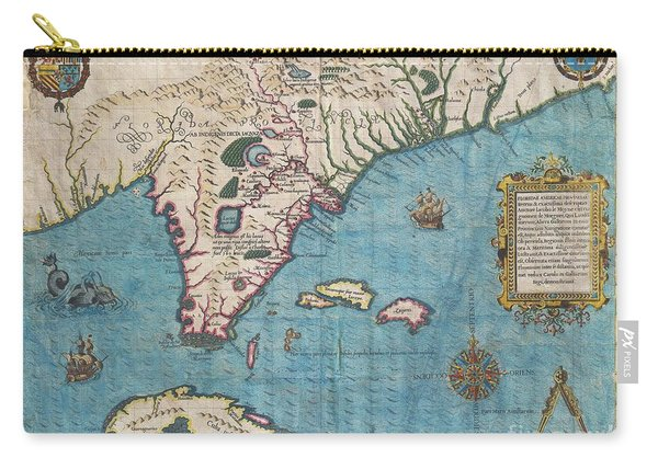 1591 De Bry And Le Moyne Map Of Florida And Cuba Carry-all Pouch