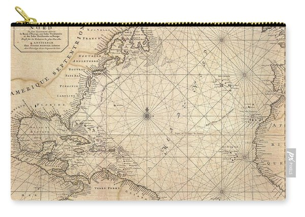 1683 Mortier Map Of North America The West Indies And The Atlantic Ocean  Carry-all Pouch