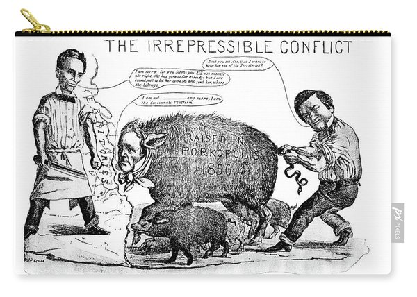1800s 1850s 1858 Cartoon Irrepressible Carry-all Pouch