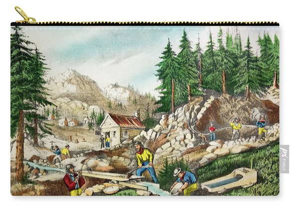 1800s Currier & Ives Color Engraving Carry-all Pouch
