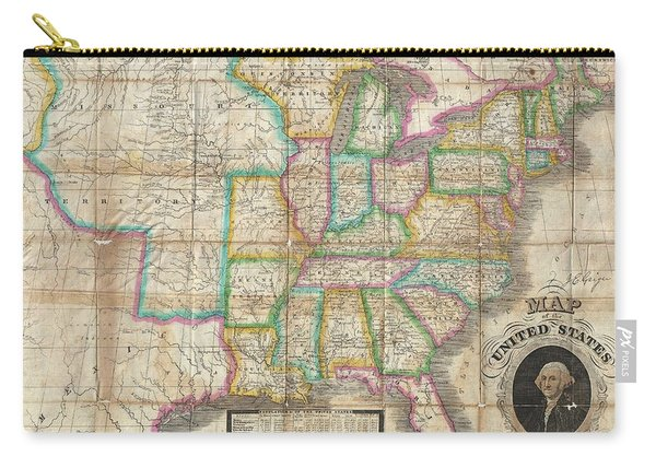 1835 Webster Map Of The United States Carry-all Pouch