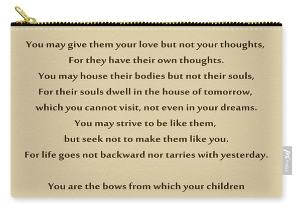 184- Kahlil Gibran - On Children Carry-all Pouch