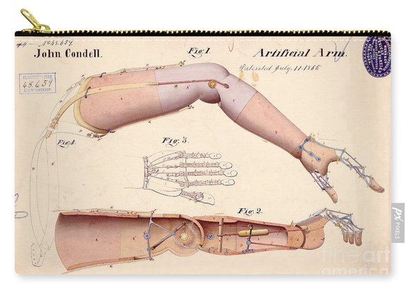 1865 Artificial Limbs Patent Drawing Carry-all Pouch