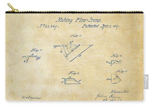 1867 John Deere Plow Irons Patent Vintage H Carry-all Pouch