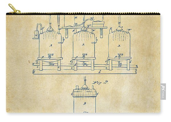1873 Brewing Beer And Ale Patent Artwork - Vintage Carry-all Pouch
