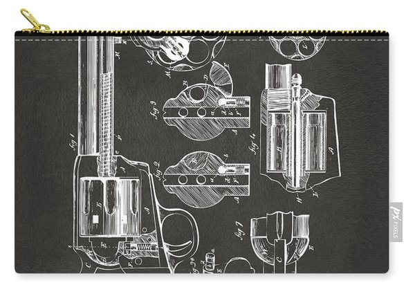 1875 Colt Peacemaker Revolver Patent Artwork - Gray Carry-all Pouch