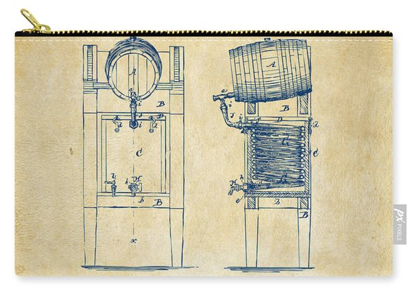 1876 Beer Keg Cooler Patent Artwork - Vintage Carry-all Pouch