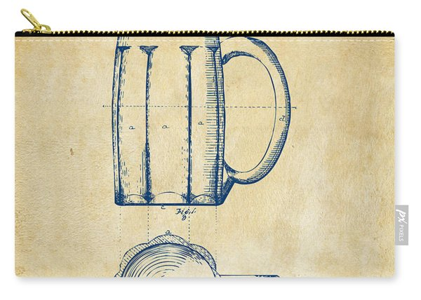 1876 Beer Mug Patent Artwork - Vintage Carry-all Pouch
