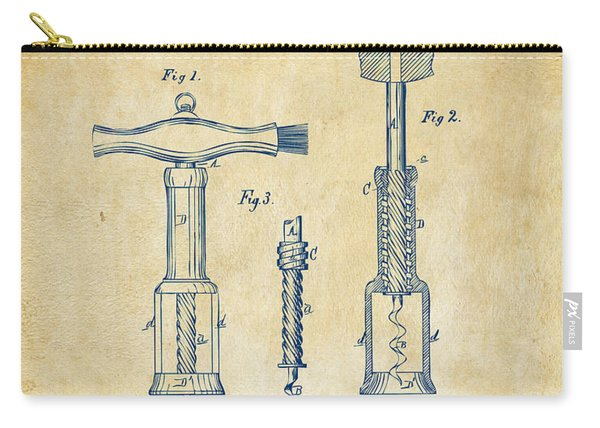 1876 Wine Corkscrews Patent Artwork - Vintage Carry-all Pouch