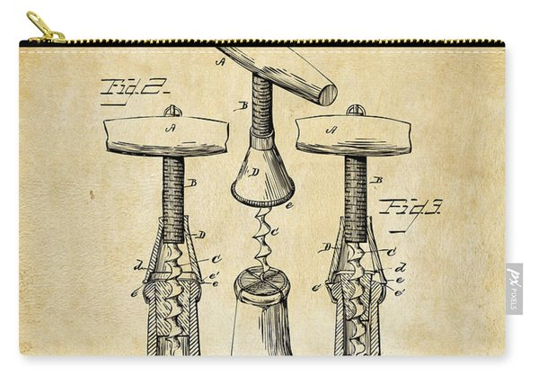 1883 Wine Corckscrew Patent Art - Vintage Black Carry-all Pouch