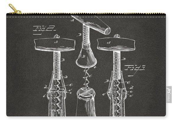 1883 Wine Corckscrew Patent Artwork - Gray Carry-all Pouch
