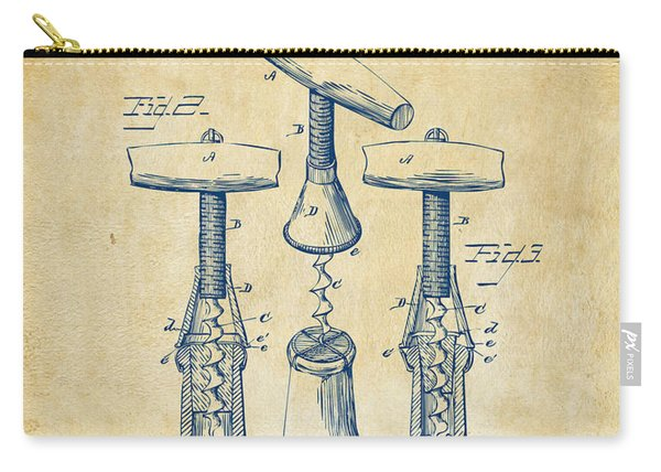 1883 Wine Corckscrew Patent Artwork - Vintage Carry-all Pouch