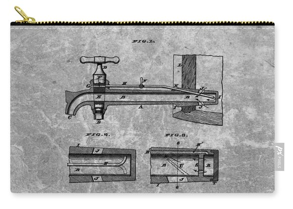 1885 Beer Tap Patent Charcoal Carry-all Pouch