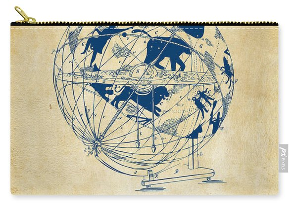 1886 Terrestro Sidereal Globe Patent Artwork - Vintage Carry-all Pouch