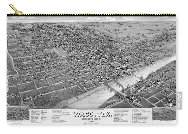 1886 Vintage Map Of Waco Texas Carry-all Pouch