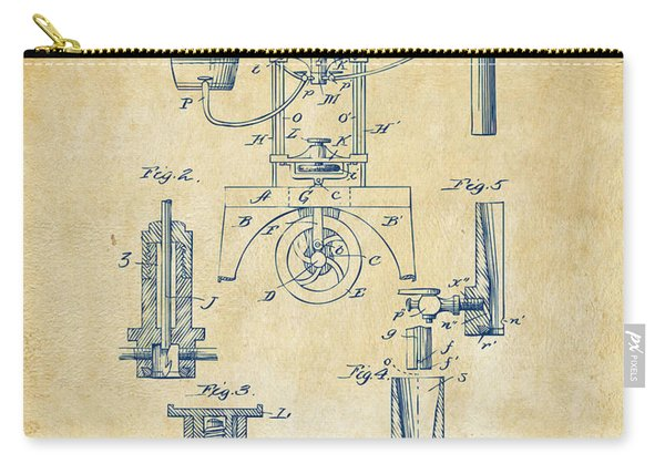 1890 Bottling Machine Patent Artwork Vintage Carry-all Pouch