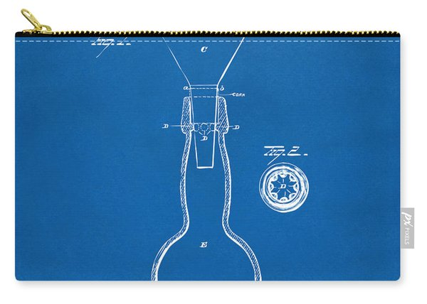 1891 Bottle Neck Patent Artwork Blueprint Carry-all Pouch