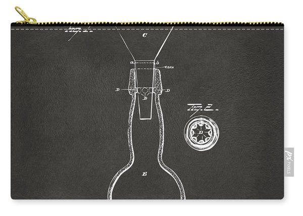 1891 Bottle Neck Patent Artwork Gray Carry-all Pouch