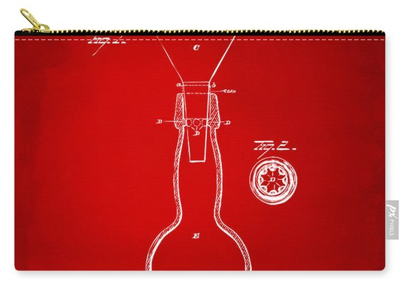 1891 Bottle Neck Patent Artwork Red Carry-all Pouch