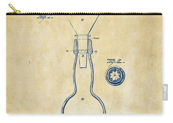 1891 Bottle Neck Patent Artwork Vintage Carry-all Pouch