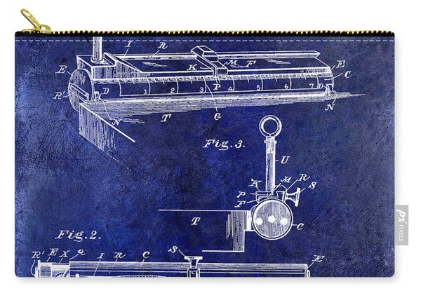 1893 Cigar Makers Gage Patent Drawing Blue Carry-all Pouch