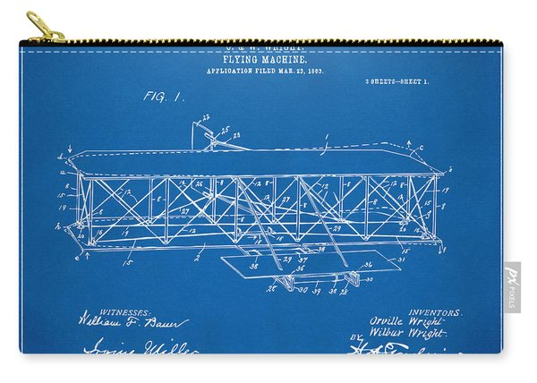 1906 Wright Brothers Flying Machine Patent Blueprint Carry-all Pouch