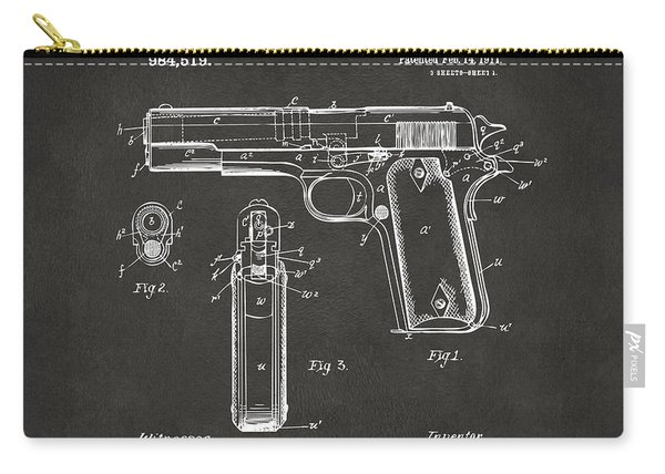 1911 Browning Firearm Patent Artwork - Gray Carry-all Pouch