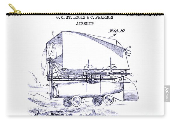 1919 Airship Patent Drawing Blueprint Carry-all Pouch