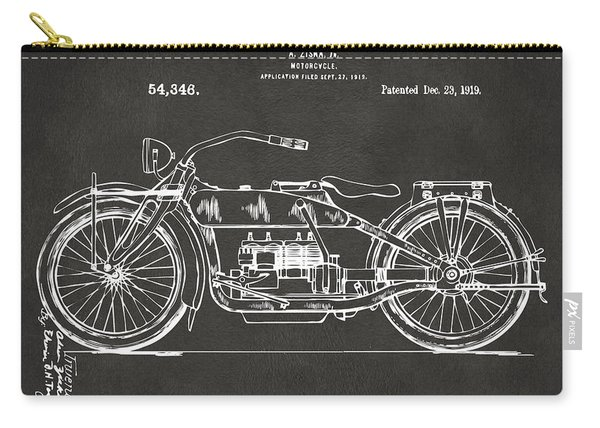 1919 Motorcycle Patent Artwork - Gray Carry-all Pouch
